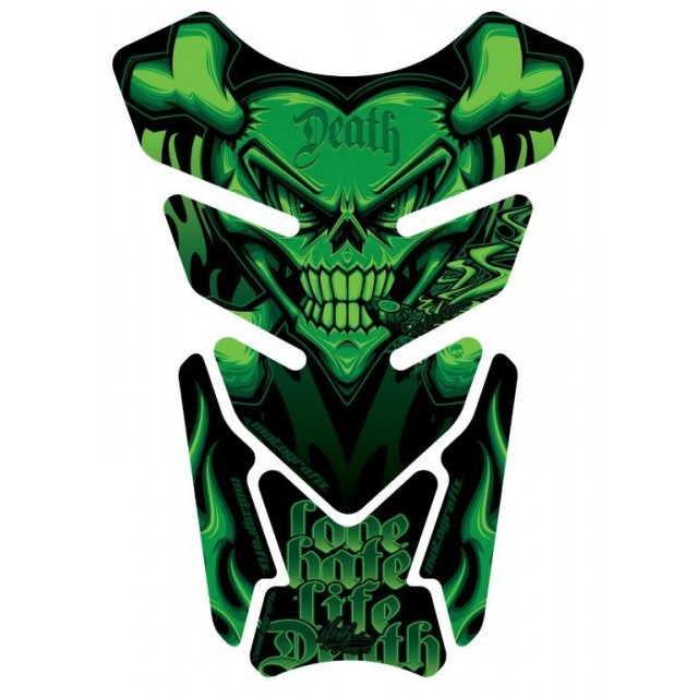Motografix Smoking Sacred Heart Skull Green 3D Gel Tankpad Protector ST077G
