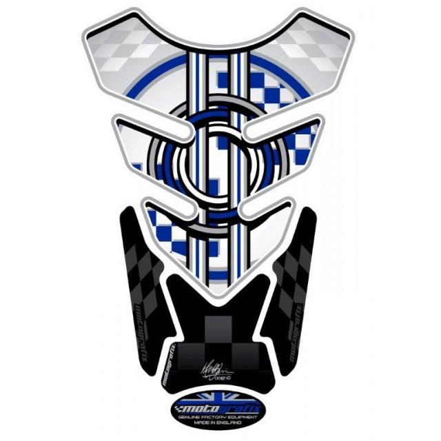 BMW Style Blue / White Universal 3D Gel Tank Pad Protector Motografix TB001W